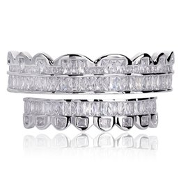 dental gold teeth UK - New Plated HIP HOP Teeth Grillz Top & Bottom Grills Set With silicone Real Shiny Grill Sets Bling A+++ Cubic Zircon