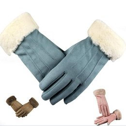 Real Leather Gloves For Men Australia - Special Women Woolen Mittens Real Leather Women Gloves Warm Wool Fur Gloves Lovely Girl Sheepskin Leather For Lady H3
