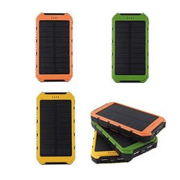 external chargers for cell phone batteries UK - 5000mAh Solar IP4X4 Waterproof External PowerBank Battery Pack Dual 5000 mah USB Power bank Charger for cell phones Car Charger