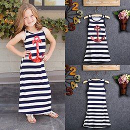 $enCountryForm.capitalKeyWord Australia - 2016 Navy Blue Kids Girls Red Sequins Anchor Maxi Stripes Dress Summer Boho