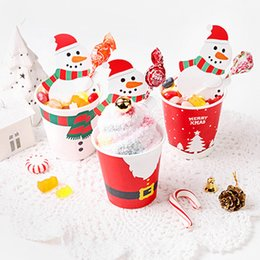 Cake Cards online shopping - 50Pcs Santa Claus Penguin Lollipop Christmas Card lolly sugar loaf Xmas Party Toy Lollipop decorations For Cake Pops