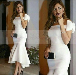 Tea Party Dresses White Canada - 2018 Mermaid Prom Dress Sexy White Stain Off the Shoulder Formal Party Gowns Elegant Tea Length Celebrity Evening Dress Custom Made