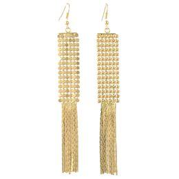 $enCountryForm.capitalKeyWord Australia - Bohemian Fashion Jewelry 3 colors Silver Gold Plated Simple tassel pendant Drop Earrings Jewelry