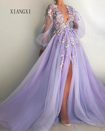 prom dresses beautiful Australia - Beautiful Lilac Evening Dress Deep V-Neck Full Sleeves Tulle A-Line Long Evening Dresses Prom Party Gowns Vestido De Festa Longo