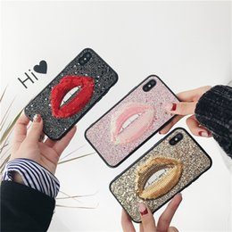 Cover for iphone glitter water online shopping - Fashion Lip Glitter Case For Iphone X XR XS MAX TPU Edge With Acrylic Back Cover For Iphone Plus