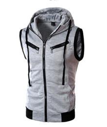 Wine Vest Australia - Men's Hooded Vest Spring and Summer Hooded Sleeveless Slim Vest Wine Red Gray Zipper Open Vest Jacket
