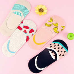 $enCountryForm.capitalKeyWord Australia - Summer Cartoon Cotton Thin Women Boat Socks Creative Casual Funny Banana Fruit Patterned Socks for Female 5 pairs