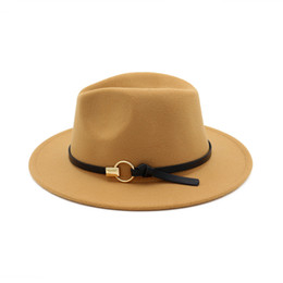 Green Wide Brimmed Hat UK - Wool Blend Fedora Panama Hat Fashion Women Lady Wool Wide Brim Casual Outdoor Jazz Cap with Leather Iron Band