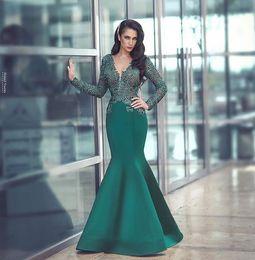 Empire Lace Applique Dress Australia - 2019 Elegant Arabic Dark Green Evening Dresses Long Sleeve V Neck Lace Appliques Mermaid Satin Said Dubai Style Formal Occasion Prom Dresses