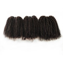 4c human hair UK - Brazilian Virgin human Hair extension 8-22inch attractive Afro 4c hair Natural Color 10pcs lot Peruvian Malaysian Indian remy Hair Weave