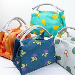 wholesale tote boxes NZ - 1 pc Waterproof Lovely Fruit Printed Portable Travel Picnic Lunch Bag Box Tote Waterproof Thermal Insulation Bag Package