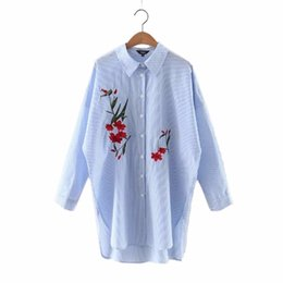 elegant long sleeve office tops UK - Women Elegant Striped Embroidery Floral Long Blouses Full Cotton Ladies Office Wear Loose Shirts Split Casual Tops Blusas Lt1020 SH190629