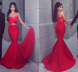 $enCountryForm.capitalKeyWord Australia - Sexy Red Mermaid Evening Gowns 2019 Strapless Ruffles Cutaway Waist Prom Dresses Satin Floor Length Said Mhamad Formal Party Dresses