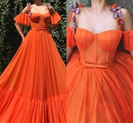 $enCountryForm.capitalKeyWord Australia - Elegant Orange Evening Dresses Sexy Spaghetti Strap Butterfly A Line Drop Sleeve Tulle Floor Length Party Prom Gowns BC2476
