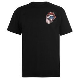 "Silver Rolled Chain Australia - The Rolling Stones USA Tongue T-Shirt Mens Black Tee Shirt Tshirt TopALICE IN CHAINS ""TRI CELL"" BLACK T-SHIRT NEW Men Women Unisex Fashion"