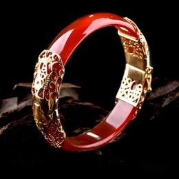 Fine Jewelry Jade Set Australia - Natural Jade Stone Chalcedony Bracelet Inlay 18KGP Fine Temperament Jewelry Gems Accessories Gifts Wholesale