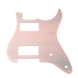 Discount guitar red pickguard - Aluminum alloy Red Bronze HH Electric Guitar Pickguard for Fender Strat Guitar