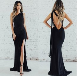 Sexy Little Gowns Australia - Sexy Backless Little Black Mermaid Prom Dresses 2019 One Shoulder Side Split Long Maid of Honor Party Evening Gowns