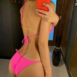 Wholesale pink neon swimsuits online – Sexy Neon Pink Brazilian Bikini Women Swimwear Halter Swimsuit Female Two Pieces Bikini Set Bather Bathing Suit Swim V1312p