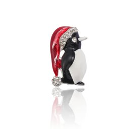 China Fashion Rhinestone Christmas Brooch Pin Cute Crystal Enamel Penguin Pins Brooches For Women Xmas Gifts Animal Santa Hat Broches cheap penguin animal hat suppliers