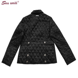 Wholesale quilted jackets for sale - Group buy Quilted Cotton padded Jacket Women Black Lozenge Winter Jacket Plus Size Coat Femininas Chaqueta Pockets Outerwear Y190827