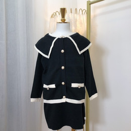 Korean sKirt top online shopping - 2019 Suit Korean girls skirt Children Girl Clothing Set of Knitted Top knitted skirt sets