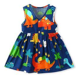 $enCountryForm.capitalKeyWord UK - Exquisite Girl Kids Designer Clothing New Summer V-neck Flower Print sleeveless Design high quality cotton baby kids Princess dress