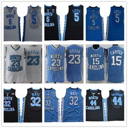 a8bfe31fee07 NCAA North Carolina Tar Heels 5 Nassir Little 32 Luke Maye 15 Carter 23  Michael 44 Jackson College blue Basketball Jerseys Stitched Logos