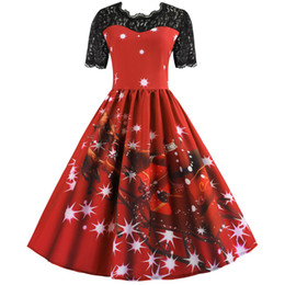 e5ecef9b17ed S-3XL women Xmas Retro dress plus size Christmas party wear lace design short  sleeve cartoon print a line dress a5