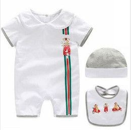 jumpsuit babies Australia - 3PCS Baby Jumpsuits Set Designer label Baby toddler boys girls romper summer Newborn Clothing baby Rompers + Bib + Hat