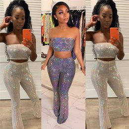 sheer clothing free NZ - Women sexy two piece set strapless backless crop top bodycon long pants designer summer clothing fashion leggings suit free shipping 1176
