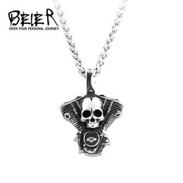 Wholesale BEIER new arrive L Stainless Steel high quality Punk skull biker Pendant necklace for men fashion Jewelry gift BP8
