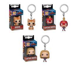 $enCountryForm.capitalKeyWord NZ - Funko POP Avengers 4 Endgame CAPTAIN MARVEL Goose Keychain Action Figure Collectible Toys for Children Christmas Gift