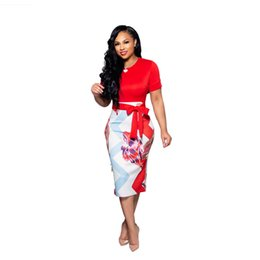 $enCountryForm.capitalKeyWord UK - Summer Female Panelled Dress Sexy Ladies OL Dress with Saches Fashion Fake 2Pcs Dresses