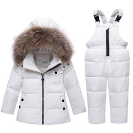 boys lycra suits NZ - Winter Down jacket Two Set Of Girl Suit Overalls Hooded Kid Suit Children Set Boy Clothes Roupa Infantil Snow Suit Warm Clothing
