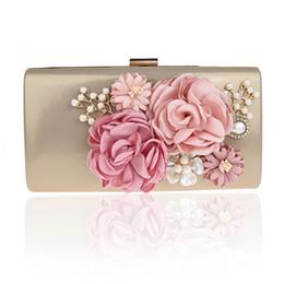 $enCountryForm.capitalKeyWord Australia - Women's Satin Evening Bags Pearls Handmade Flowers Bridal Hand Bags Clutch Box Handbags Wedding Clutch Purse for Women BW-12018