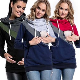 Wholesale cotton polyester blend t shirts for sale – custom Maternity Clothing Sweaters Supplies Splice Long Sleeve Cotton Blend Hooded Striped Loose Pullover Splice Breastfeeding t shirt