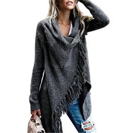 $enCountryForm.capitalKeyWord UK - Women Irregular Tassel Knitted Cardigan Capes Poncho Shawl Winter Autumn Fashion Outwear Tassel Long Shawl Coat