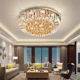 lighting ceiling lights Australia - Modern Crystal Ceiling Light LED Lamps American Round K9 Crystal Ceiling Lamp Home Indoor Lighting Remote Control 3 White Colors Dimmable