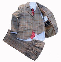 $enCountryForm.capitalKeyWord Australia - Boys Blazer jacket suit 3 piece Plaid Clothing set Kids clothes Formal dress for Baby Boy Blazers sets Children Wedding Suits