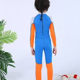 sunscreen cartoon Canada - Children's Sunscreen Swimsuit 2.5MM Neoprene One-Piece Long-Sleeved Snorkeling Suit Boys Jumpsuit Wetsuit