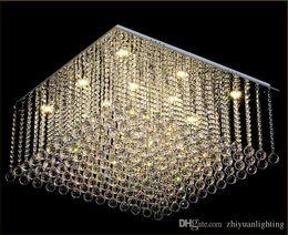 $enCountryForm.capitalKeyWord Australia - Contemporary Square Crystal Chandelier K9 Crystal Rain drop Luxury Flush Mount LED Crystal Light Lustres De Cristal for living room