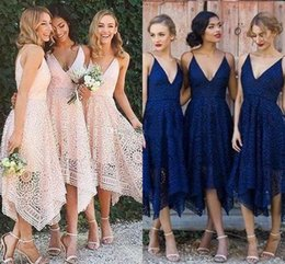 Lavender Blush Wedding Dress Australia - 2019 New Tea Length Country Bridesmaids Dresses Lace A Line Deep V-Neck Beach Sleeveless Maid of Honor Wedding Guest Party Gowns Blush