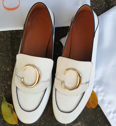 hot dress street Australia - Hot Sale- cow leather dress wedding shoe Single Shoe sheepskin Loafers Metal Buckle Casual Street Flats Fashion Lady Office Oxfords,35-40