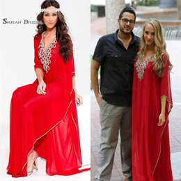 Arabic Red Evening Dress Australia - A line Red Arabic Style Evening Dresses V-Neck Dubai Beaded Long Sleeve Abaya Muslim Formal Prom party Gowns Plus Size