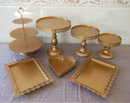 Cupcakes Desserts NZ - Gold plated metal cupCake Plate Stand set Hollow flower dessert baking tray wedding centerpiece table ornaments decorations