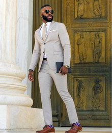 Beige Slim Suits For Men Australia - 2019 Wedding Tuxedos For Groom Slim Fit Notched Lapel Man Suits Formal Party Wear Blazer( Jacket+Pants+Tie)