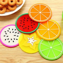 cute drink coasters UK - 5 fruit shape coasters pad promotion cute fruit pattern silicone round coaster holder thick drink tableware coaster cup XD22168