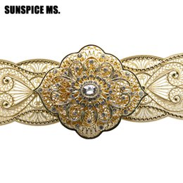 waist jewelry UK - SUNSPICE MS Caucasus Vintage wedding Dress Belt Women Bridal Waist Chain Waistband Metal Body Jewelry Accessories Love Gifts New