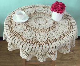 $enCountryForm.capitalKeyWord Australia - HOT DIY luxurious Crochet White Table Cloth Towel Cover Dining Doilies Lace Cotton Square Handmade Tablecloth For Wedding Deco
